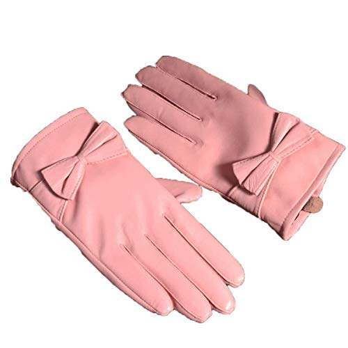 Calore A Al Paragrafo Breve Resistenti Donna Per Elegante Inverno Esterni Pelle Guanti In Tinta Rosa Unita wZfR8p