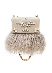 Crossbody leather bag With lama fur and Crystals