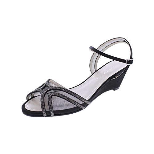(Caparros Womens Hilton Open Toe Bridal Slingback Sandals, Black Satin, Size 11.0)