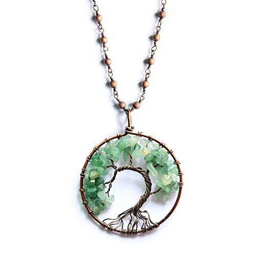MHZ JEWELS Family Tree of Life Pendant Necklace Green Aventurine Chakra Pendant Healing Stone Necklace for Women