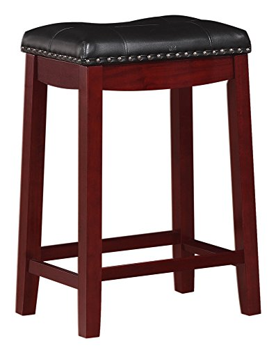 Angel Line Cambridge Padded Saddle Stool, Cherry with Black Cushion, 24