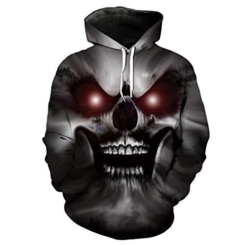 Red-Eyed Horror Demon Skull Print 3D Hooded Pullover Halloween Style Fashion Sweatshirt -