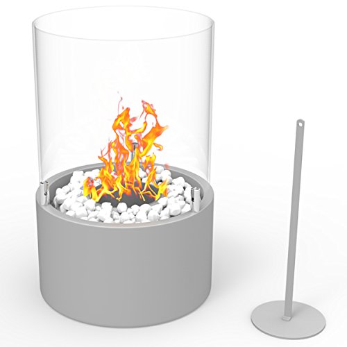 Regal Flame Casper Ventless Indoor Outdoor Fire Pit Tabletop Portable Fire Bowl Pot Bio Ethanol Fireplace in Gray - Realistic Clean Burning like Gel Fireplaces, or Propane Firepits