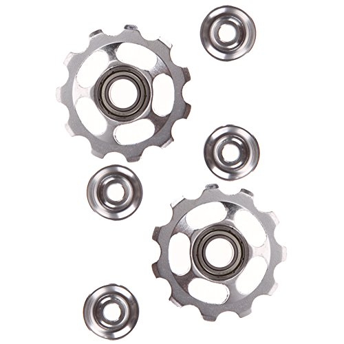 2pcs 11T Bike Aluminum Alloy Bearing Jockey Wheel Rear Derailleur(Silver) - 3