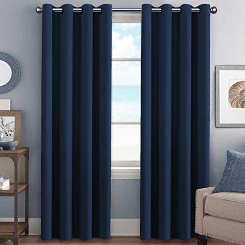 H.VERSAILTEX Premium Blackout Room Darkening Innovated Microfiber Home Fashion Navy Curtain Panels,Antique Grommet,52 by 96 - Inch - Set of 2