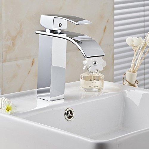 Plated Basin Mixer (Aquafaucet Square Waterfall Bathroom Sink Basin Mixer Tap Faucet ,Chrome Plated)