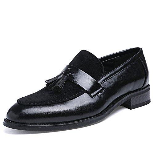 2018 Schuhe Herren Mens Oxfords Schuhe, formale Business flache Loafer Kleid Quaste Leder Oxfords Schuhe für Hochzeit Business formale Party Office Kleid Hochzeit ( Color : Schwarz , Größe : 38 EU ) Schwarz