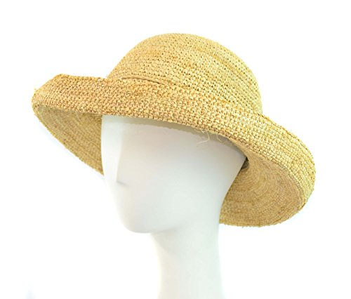 Surell Sun Hat - Hand Woven Soft Raffia Straw Island Style with String Adjuster - Sun Hat - Perfect Beach Gift (Natural)
