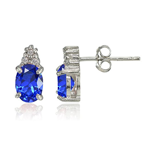 Sterling Silver Simulated Blue Sapphire and CZ Accent Oval Stud Earrings
