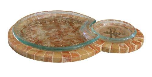 Rosh Hashanah Honey Dishes. 3 Piece Glass & Jerusalem Stone Honey Dish Set From Israel by C.J. Art
