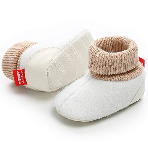 Tutoo Unisex Baby Newborn Plush Fleece Ankle Booties Infant Boys Girls Socks Winter Warm Cotton Slippers Soft Anti Slip First Walker Shoes (4.33 inches(3-6 Months), C-White) ()