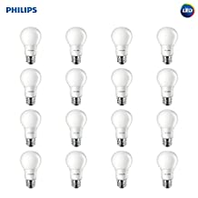 Philips LED A19 Non-Dimmable 800-Lumen, 5000-Kelvin, 8-Watt (60-Watt Equivalent) Light Bulb, E26 Medium Base, Daylight, 16-Pack