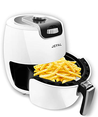 Jefal Best Air Fryer Oven, Small Air Fryer for Two People with Cookbook , 3.6QT Compact Electric Power Fryer ,Time and Temperature Control ,Oilless Non-stick Detachable Dishwashable Basket , Auto Shut off Feature ,White