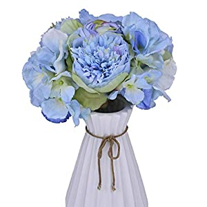 Anna Homey Decor Fake Flowers Bouquet with Silky Rose Floral Bouquet,3 Heads Peonies Silk Flowers 9
