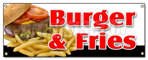 French Fries Ketchup (BURGER & FRIES BANNER SIGN cheeseburger french fries grill beef ketchup cheese)