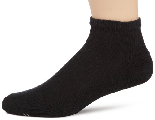 Ankle Length Athletic Socks (Champion Men's 6-Pack Quarter Socks, Black, 10-13 (Shoe size 6-12))