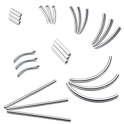 (160pcs Sliver Plated Brass Long Curved Noodle Tube Spacer Beads for DIY Craft Jewelry Making)