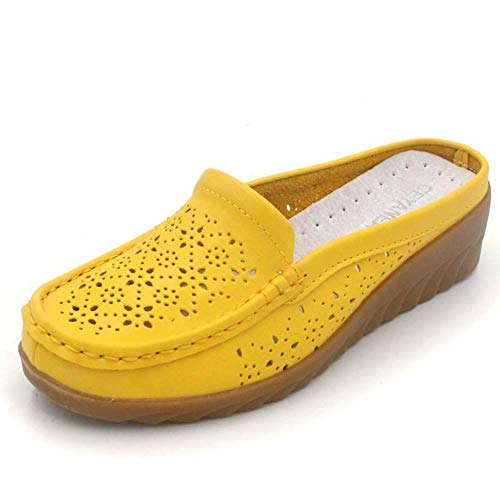 Women Wedge Sandals Slip on Loafers Breathable Rubber Sole Casual Vacation Footwear Basic Boat Shoes Yellow