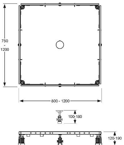 80-120 Duschwannenfu/ß Brausewannenfu/ß Duschf/ü/ße Wannenkreuz Rahmen Montagerahmen Rechteck f/ür Duschtasse