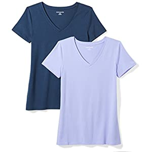 Amazon Essentials Women's 2-Pack Classic-Fit Short-Sleeve V-Neck T-Shirt