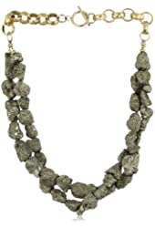 "Devon Leigh ""Statement Necklaces"" Raw Pyrite Twist Necklace"