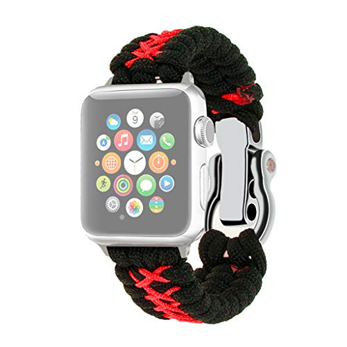 Unine Band Compatible with Apple Watch 42mm/44mm 38mm/40mm, Nylon Rope Paracord Watch Band with Outdoor Survival Stainless Steel Shackle Replacement for Apple Watch Series 4/3 /2 (Red, 42mm/44mm) ()