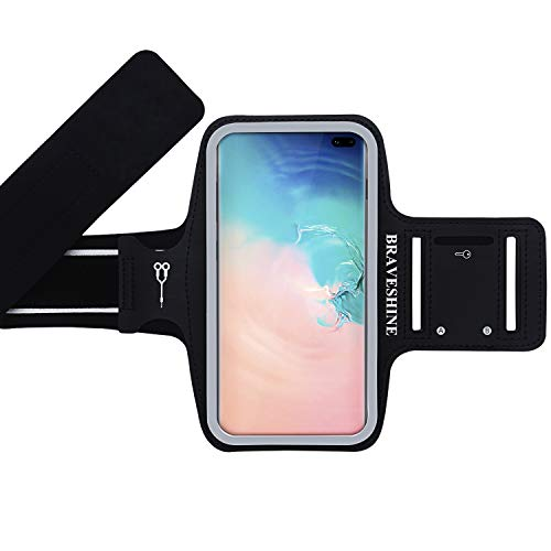 Integrated Arms - BRAVESHINE Running Armband for Men Women Gym Sport Workout - Water Resistant Phone Holder Arm Band for Samsung Galaxy S10+ S10E S10 S9/S8 Plus S9/S8/S7/S6 Edge Note 9 J7 Star Screen Up to 6.2 Inch