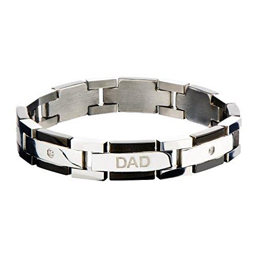 Jewelry Brands Men's 316L w/Clear CZ DAD Engraved Link Bracelet by Jewelry Brands
