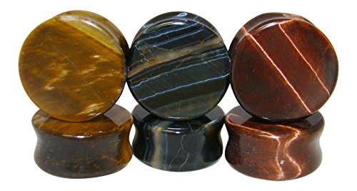 -ALL 3 PAIR- Yellow, Blue & Red Tiger Eye Organic Stone Plugs Double Flare Gauges (1