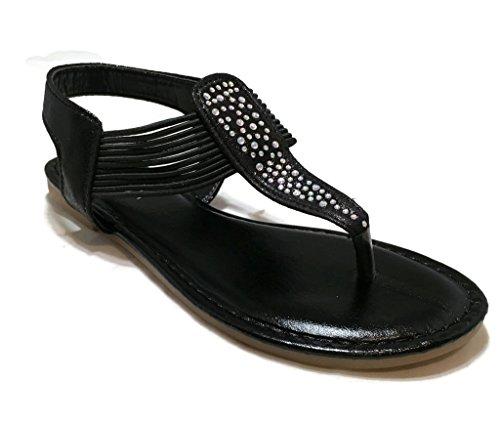 ANNA Women Slip-On Beach Rhinestone Gladiator Sandals Casual Fashion Dressy Sandals Black Shimmer 0OLpv2y2MD