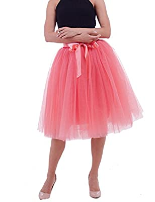 Women's Solid A Line Midi/Knee Length Tutu Skirt 6 Layered Pleated Tulle Petticoat Dance Tutu