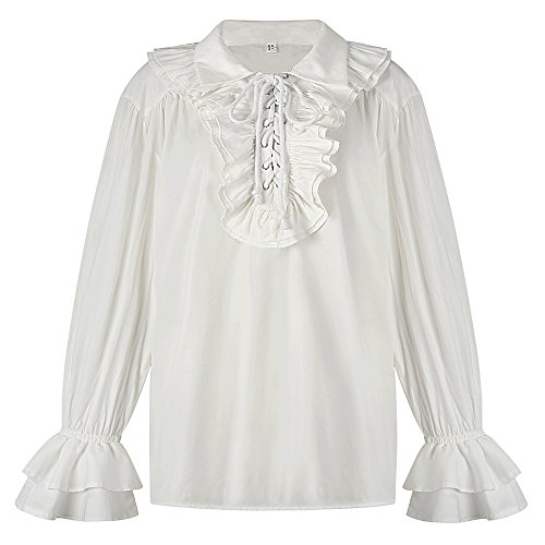 Sex icon Mens Ruffled Gothic Steampunk Victorian Renaissance Pirate Cosplay Long Sleeve Shirt (White, L) by Sex icon
