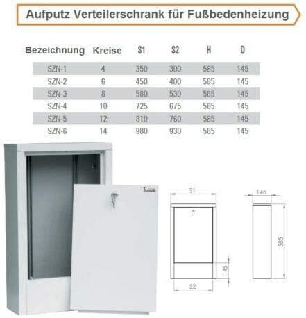 2-4 Verteilerschrank Fu/ßbodenheizung Verteilerkasten Aufputz 2-14 Schaltkreise