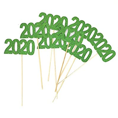 PaperGala 8 pack of Double Sided Glitter 2020 Centerpiece Sticks in Various Colors for DIY Graduation Centerpiece and Grad Party Decor (Green): Kitchen & Dining