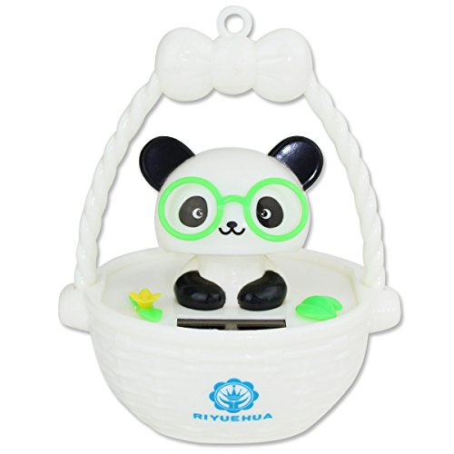 Cute Panda with Glasses in Bascket Solar Powered Toy Office Desk Home Decor Birthday Gift USA Seller ~ We Pay Your Sales Tax