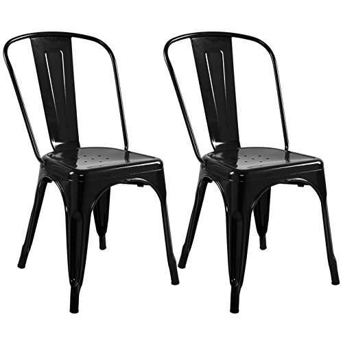 Set of 2 Metal Steel Stools Vintage Antique Style Counter Chair Bar Stools Scratch resistant Black #743