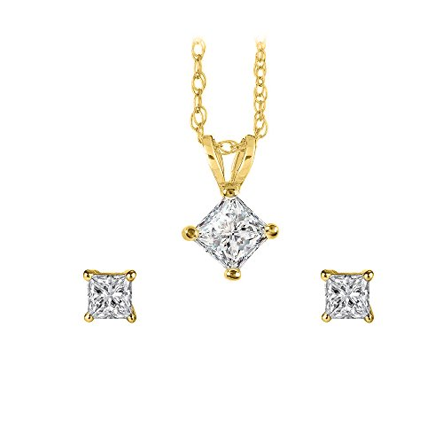 Square Diamond Pendant Earrings Jewelry Set Yellow Gold ()