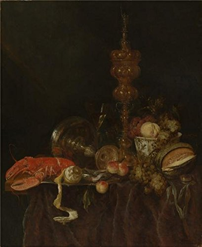 The High Quality Polyster Canvas Of Oil Painting 'Abraham Van Beyeren,Still Life With Lobster And Fruit,1650s' ,size: 20x24 Inch / 51x62 Cm ,this Reproductions Art Decorative Canvas Prints Is Fit For Garage Decor And Home Artwork And (Cheetah Print Lip Tattoos)