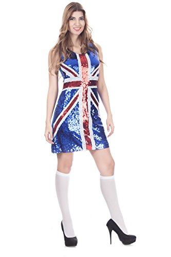 Sexy British Flag Costume - Women Glitter Sequin Fancy Dress