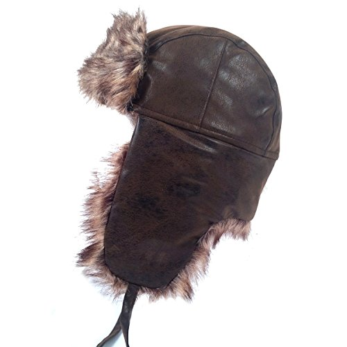 Lined Aviator (Schonfeld Men's Aviator Style Faux Fur Lined Leather Style Hat (Medium))