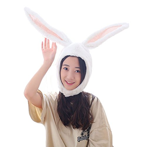 unny Ears Hood Women Costume Hats Warm, Soft and Cozy, White ()
