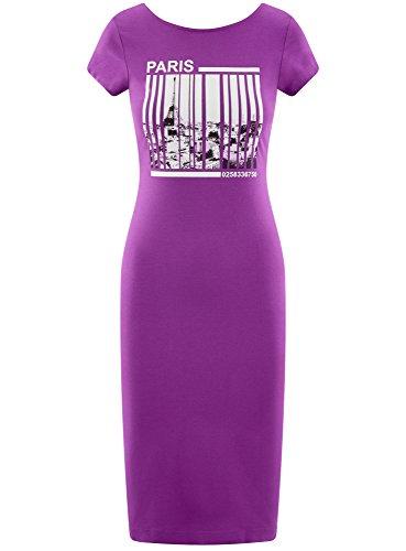 Longue au Violet oodji Mi avec 8029p Dcollet Femme Collection Dos Robe n4nqxOUgI