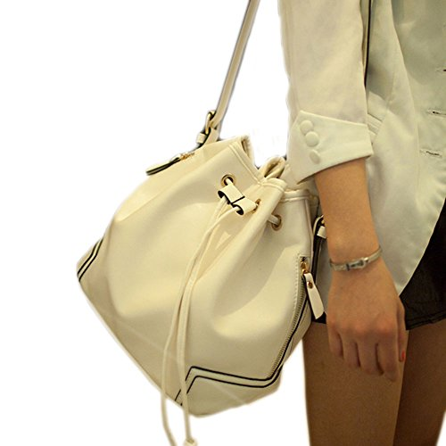Purse Style Bucket (Catkit Fashion Womens Korea Style Drawstring Tote Handbag Shoulder Crossbody Bag White)