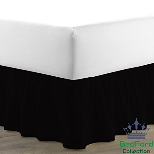 BedFord Collection Egyptian Cotton 750TC 1 Piece Single Ruffle Bed Skirt Short King Size 9'' Inch Drop Length Black Solid