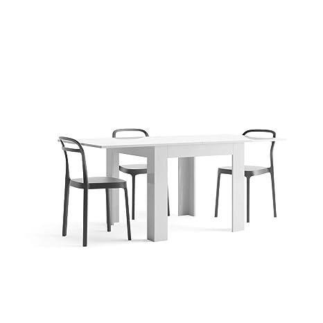 Tavolo 90 X 90 Allungabile Bianco.Mobili Fiver Tavolo Allungabile Eldorado Bianco Lucido 90 X 90 X