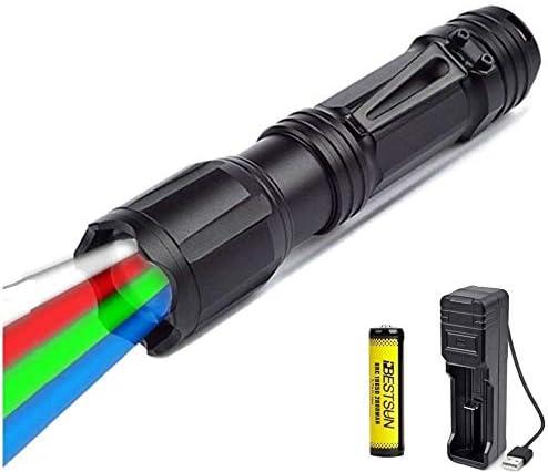 3X XPE LED Zoomabar Taschenlampe 3 in 1 Grün Rot UV Licht Lampe Licht Outdoor