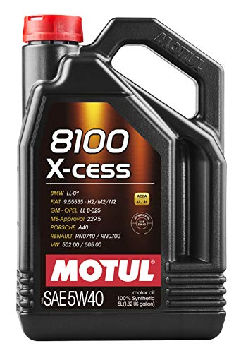 Motul 007250 8100 X-cess 5W-40 Synthetic Gasoline and Diesel Engine Oil - 5 Liter - Engine Racing Porsche