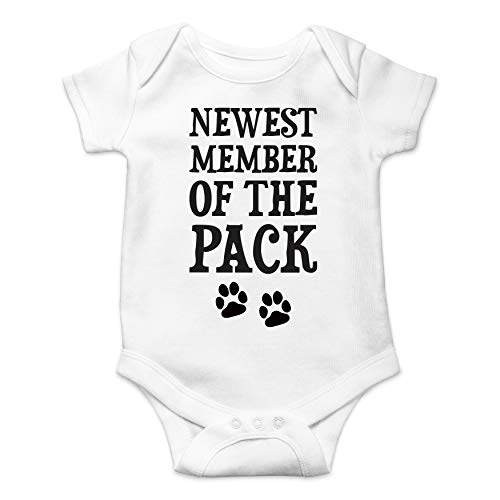 Newest Member of The Pack - Funny Cute Infant Creeper, One-Piece Baby Bodysuit (White, Newborn)