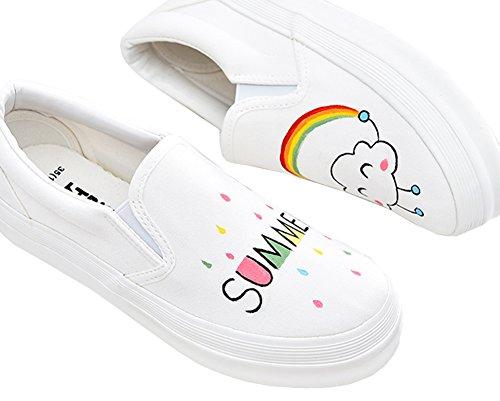 Iduoduo Baby / Småbarn / Liten / Ungdoms Jenter Søte Håndmalte Sommer Enkle Canvas Sko Loafers Hvite (voksen)
