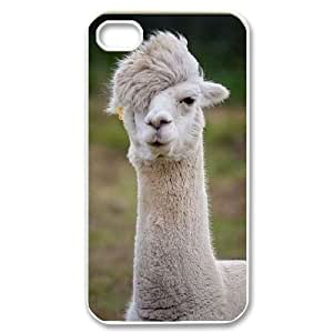Customized Cover Case with Hard Shell Protection for Iphone 4,4S case with Alpaca lxa#920360